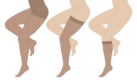 細身の女性の足、ストッキング、パンスト、ソックスの医療圧縮靴下。