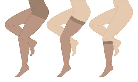 Medical compression hosiery for slender female feet, stockings, pantyhose, socks. Vectores