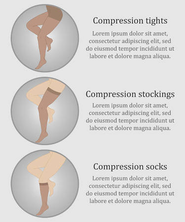heart valves: Medical compression hosiery for slender female feet, stockings, pantyhose, socks. Illustration