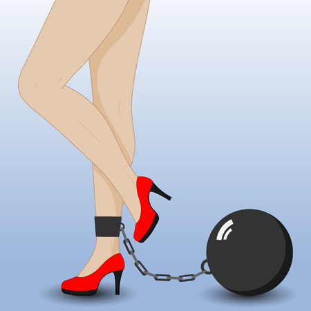 Slender female legs in red shoes. Heaviness in the legs varicose veins. Illustration