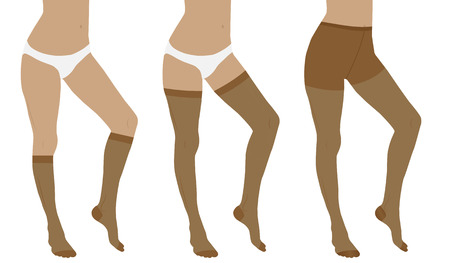 las medias de compresión médica para los pies femeninos delgados. medias de nylon, medias y calcetines. Ilustración de vector