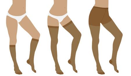 edema: Medical compression hosiery for slender female feet. Nylon tights, stockings and socks.