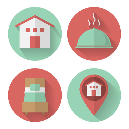 hostel: Set of icons for the hotel in flat style. Icons for the web site hostel.