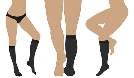 edema: Medical compression hosiery for slender female feet. Nylon socks. Illustration