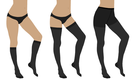 Medical compression hosiery for slender female feet. Nylon tights, stockings and socks.