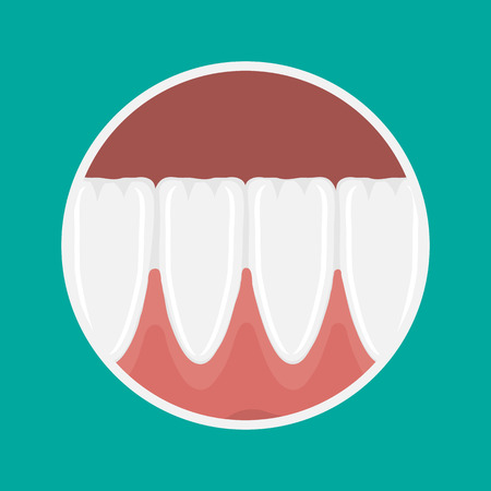 maxilla: icon incisors and mandibular teeth gums. Illustration