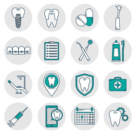 A set of vector icons in dental linear style. Icons for the web site dental clinic.