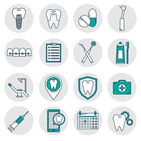 Un ensemble d'icônes vectorielles en style linéaire dentaire. Icônes pour la clinique dentaire du site web.