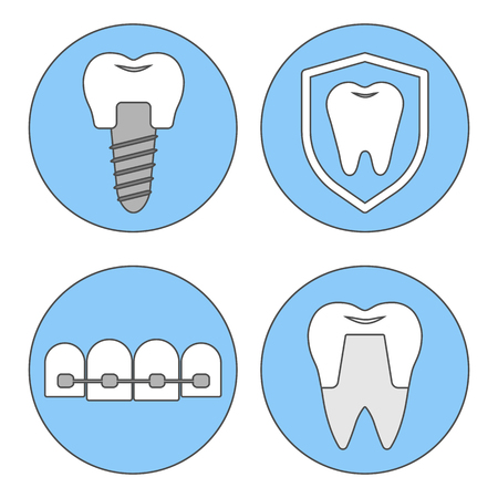 orthodontist: Set of vector icons for dental clinics, orthodontics, dental implants, orthopedics.