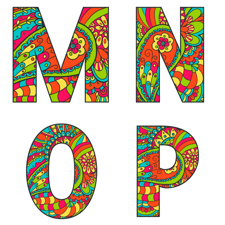 big letters: Set of vector big letters with a bright pattern doodle. Letter M, N, O, P.