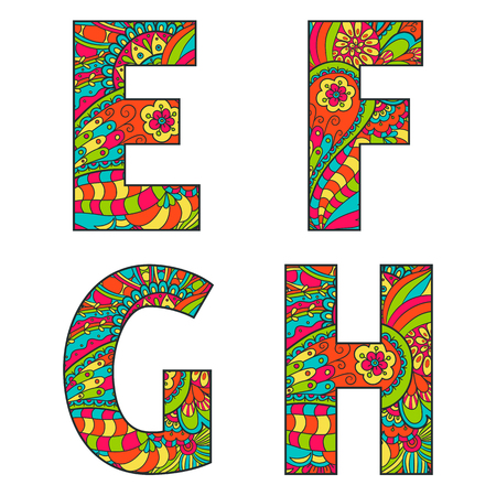 big letters: Set of vector big letters with a bright pattern doodle. Letter E, F, G, H.