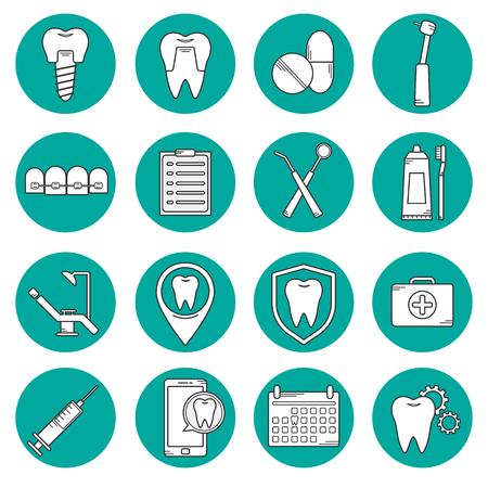 Ensemble de vecteur icônes dans le style linéaire dentaire. Icônes pour le site web clinique dentaire. Orthodontie, implants. Vecteurs