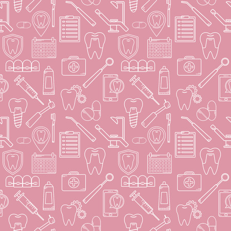 Seamless pattern in a dental linear style. Background for web site dental clinic. Orthodontics, implants. Иллюстрация