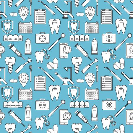 Seamless dans un style linéaire dentaire. Contexte pour le site Web clinique dentaire. Orthodontie, implants.