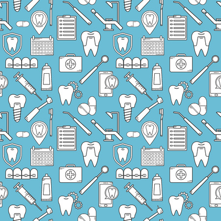bleaching: Seamless pattern in a dental linear style. Background for web site dental clinic. Orthodontics, implants. Illustration