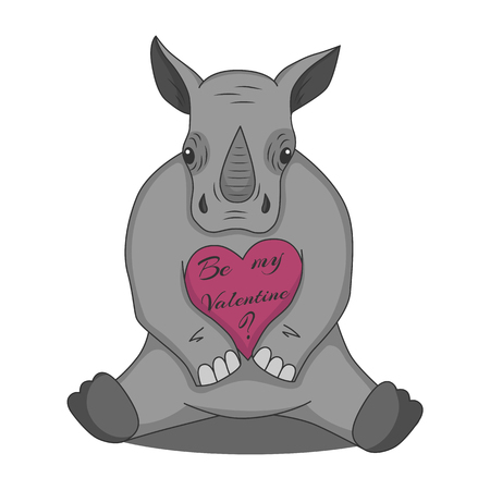Vector drawing of a rhino with a valentine heart. Isolated on white background.
