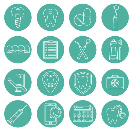 bleaching: Set of vector icons in dental linear style. Icons for the web site dental clinic. Orthodontics, implants.
