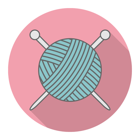 Vector icon ball of yarn with knitting needles logo with shadow.