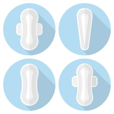 Set of vector icons feminine sanitary pads. Illustration of feminine hygiene products in a flat style.