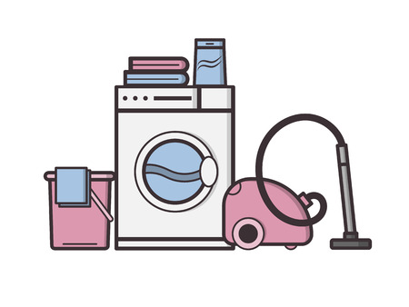Vector objects laundry and housekeeping. Dry cleaning. Illustration