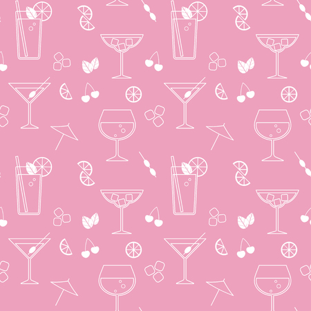 Vector seamless pattern with cocktails and ingredients.