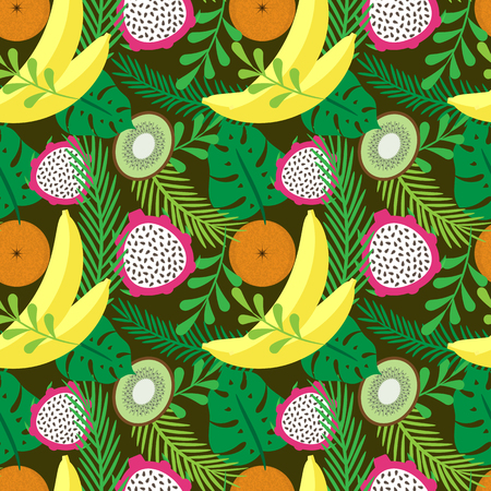 papaya flower: Vector seamless pattern with tropical fruits and plants. Bananas, oranges, kiwi and dragon fruit. Illustration