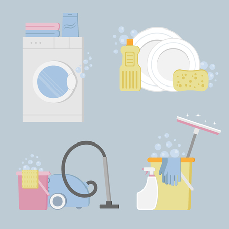 Vector objects laundry and housekeeping. Cleaning service. Vector Illustration