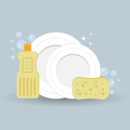Vector illustration, clean washed dishes, dish detergent and sponge in the foam. Illustration