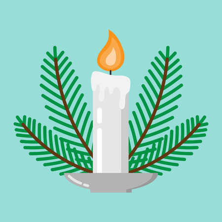 Vector christmas candle decorated with christmas trees. Icon for web and mobile application. Flat design style.