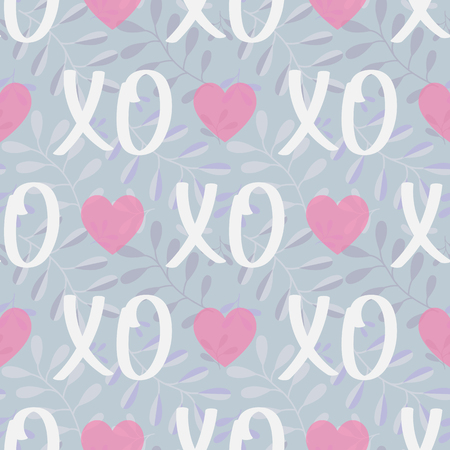 Vector seamless Background Patterns hearts and hugs and Kisses XOXO. Modern Valentines Day background.