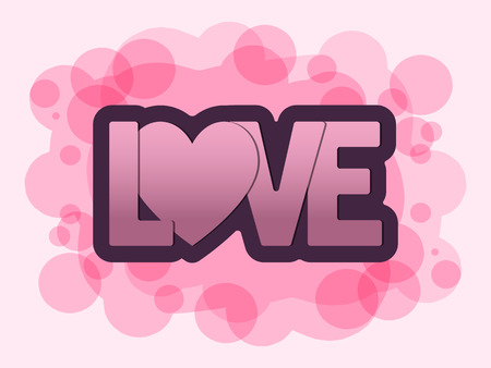 Illustration of festive love lettering with heart on abstract pink background Valentines Day. Ilustração
