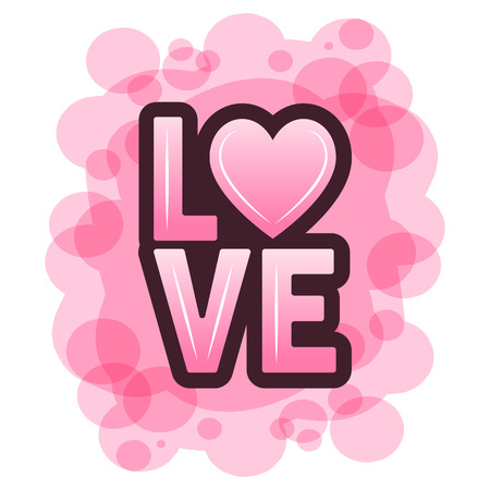 Vector illustration of festive love lettering with heart on abstract pink background. Valentines Day.