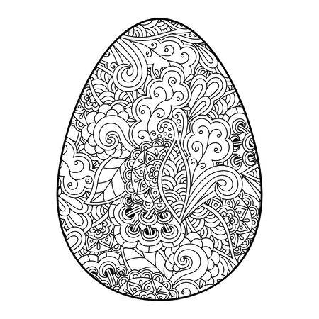 Vector illustration of an Easter egg with doodle pattern, coloring. Isolated on white background. Illustration