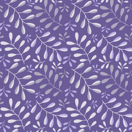 Vegetative vector seamless pattern in a flat style in the ultraviolet color.