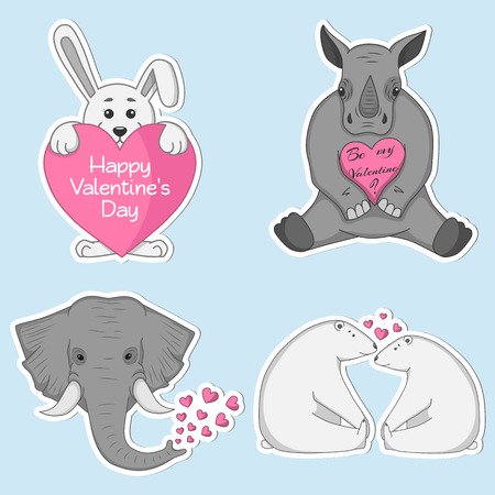 Set of vector cute labels with animals for St. Valentine's Day. Rabbit, bears, rhinoceros and elephant in a flat style.