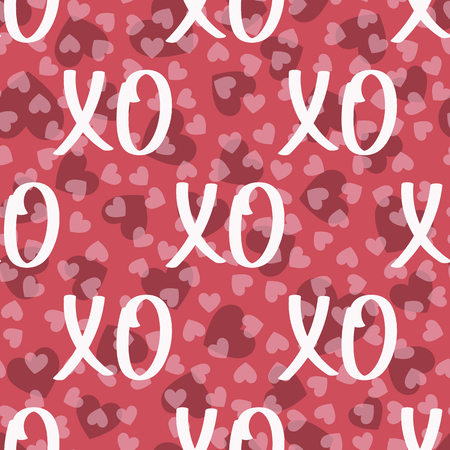 Vector seamless Background Patterns hearts and hugs and Kisses XOXO. Modern Valentine's Day background. Ilustração