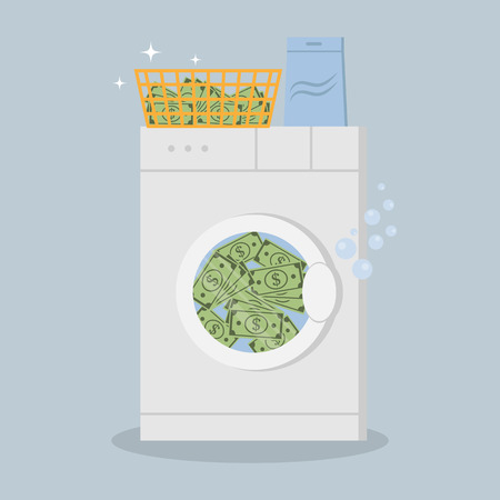 Money laundering in washing machine vector illustration Stok Fotoğraf - 93507250