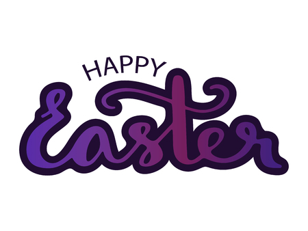Happy easter. Vector illustration with handwritten lettering in ltraviolet colors for greeting card.