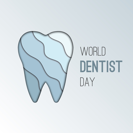 Vector illustration for the world day of the dentist. Illustration of a tooth in a pappercut technique.