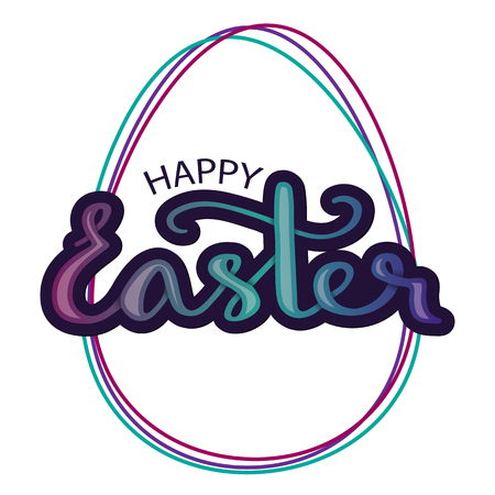 Illustration in a modern style, the outline of Easter eggs with a handwritten lettering of a happy Easter.