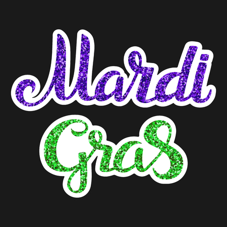 Illustration of a handwritten lettering Mardi Gras with a glitter effect on the isolated black background.