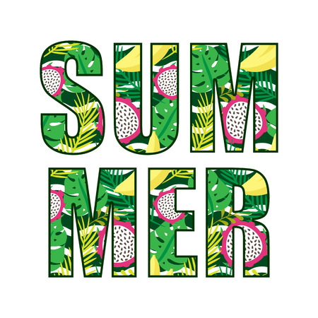 Vector graphics, summer inscription with a tropical pattern.
