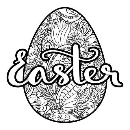 Vector coloring easter egg with handwritten lettering easter, isolated on white background.