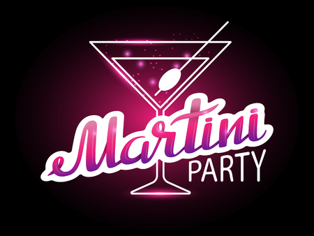 Vector lettering Martini party in pink tones on the background of a glass with a cocktail.