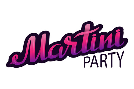 Vector lettering Martini party in pink tones illustration.