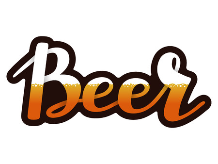 Vector handwritten lettering of beer, on isolated white background.