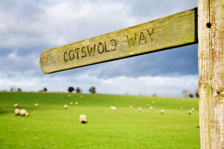 Footpath sign for the Cotswold Way in England, UK.