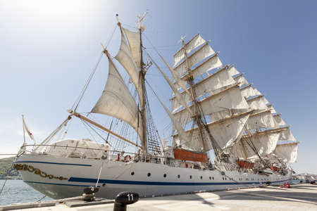 tall ship: A tall ship, classified as a four masted barque, moored at Nagasaki docks with all sails set