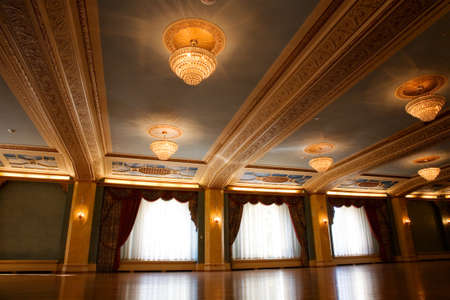 ballroom dance: Grand, old fashioned ballroom with glass chandeliers