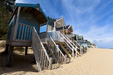 Low, wide-angle view of colourful Beach huts Stock Photo - 17985376